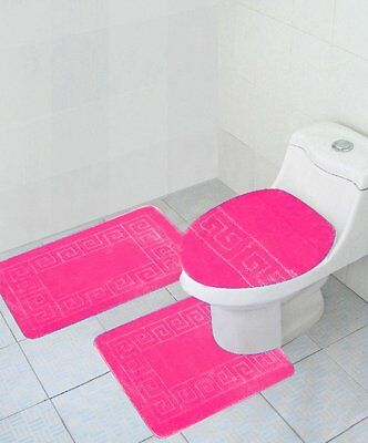 3 Piece Bathroom Set Hot Pink Rug Contour Mat Lid Cover Free Shipping New
