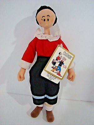 "Olive Oyl 11""  Musical Doll w tags Popeye's Girl Friend 1990 King Feature Hamilt"