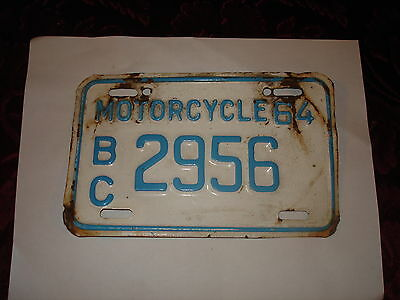 rare 1964 bc motorcycle license plate