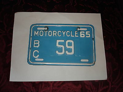 very rare 2 digit (59) 1965  bc motorcycle license plate