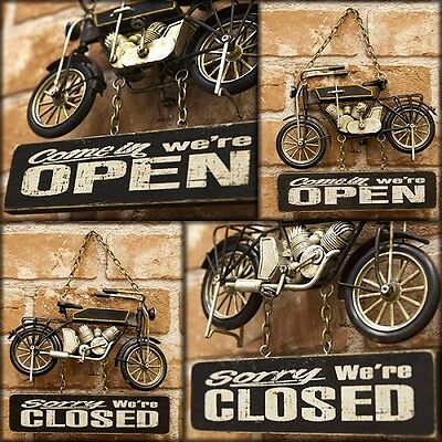 model vintage tin plate & wood motorcycle free shipping!Open & Closed 1504A-7782