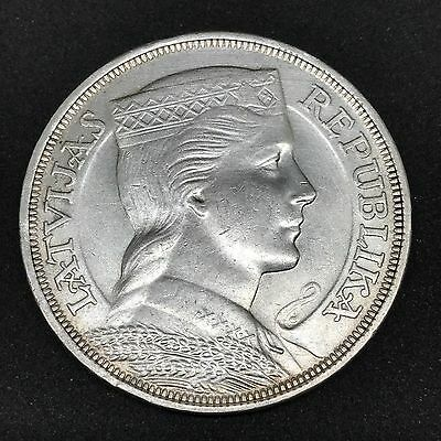 Latvia 5 Lati 1932 Silver Coin - Original **High Grade** (Lats)
