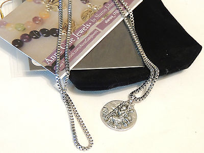 Saint St Christopher Safe Travel Medal-Necklace-Stainless Steel Box Chain - 60Cm