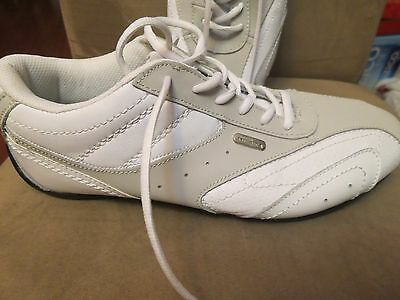 Perry Ellis America Leather Casual Sneakers Shoes White/ Tan  Men S.10 New