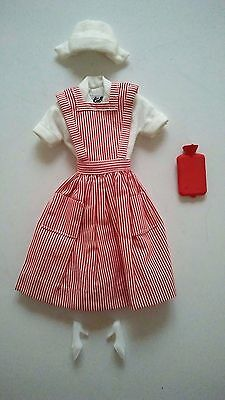 VINTAGE 1960's BARBIE DOLL CANDY STRIPER PINAFORE OUTFIT WITH HOT WATER BOTTLE