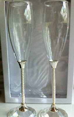 Pearl Stemmed Champagne Toasting Flutes * Pearl Stem Glasses * Gift Boxed *