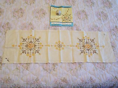 Vintage Quality Semco Embroidery Runner Design 303.worked Centre Unworked Border