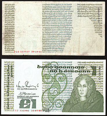 Ireland B Series £1 One Pound note Queen Medb Error note with normal note.