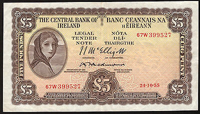 Central Bank of Ireland £5 Pounds 1955 Lavery About GVF. Redmond signature