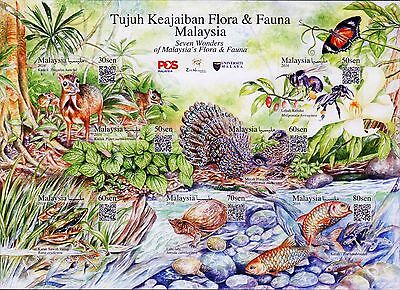 Malaysia 2016 7 Wonders of Flora & Fauna MNH insect bird frog turtle unusual