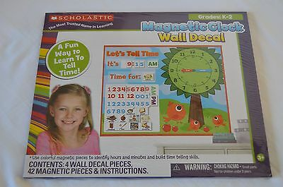 Scholastic Magnetic Clock Wall Decal Interactive Time Lessons For Classroom/home