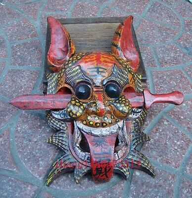 """Antique Collectible Handmade Carving & colored drawing wood Mask Art Deco 13"""""""