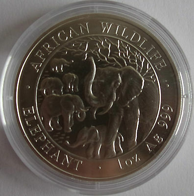 2008 Somalia Elefant,1 Oz Bu/st Silber, In 39 Mm Kapsel