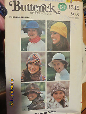 Butterick Misses Hats  Pattern - 3319  - Hats To Sew - One Size