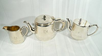 Vintage CPR Silverplate 3 pc TEA & Coffee Pot CREAMER CANADIAN PACIFIC Railroad