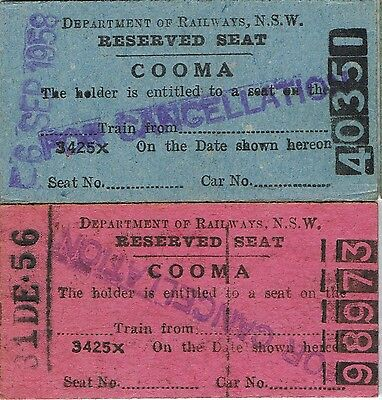 Railway tickets some reserved seats from Cooma in the 1950's with the old NSWGR