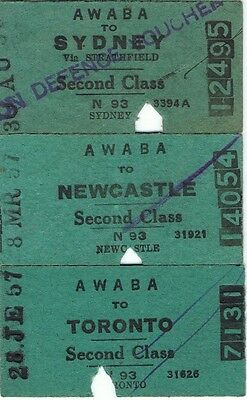 Railway tickets some trips from Awaba in 1957 with the old NSWGR