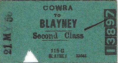 Railway ticket a trip from Cowra to Blayney in 1956 with the old NSWGR