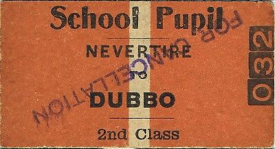 Railway ticket a trip from Nevertire to Dubbo with the old NSWGR