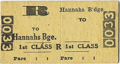 Railway ticket a trip from Hannah's Bridge with the old NSWGR