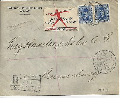 Egypt,1929,registered cover with Label & Wax seal sent to Germany-2 scans