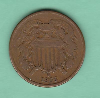 1865 Two Cent piece-VERY NICE