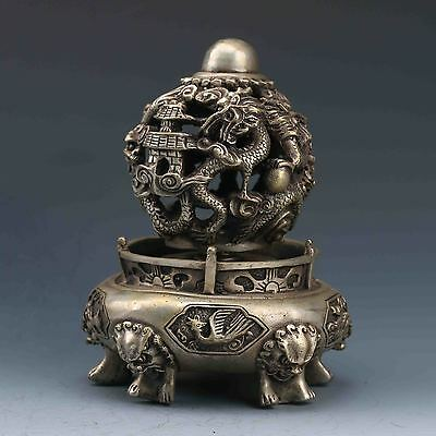 Chinese Silver Copper Hand-Carved Kowloon play beads Incense Burner G570