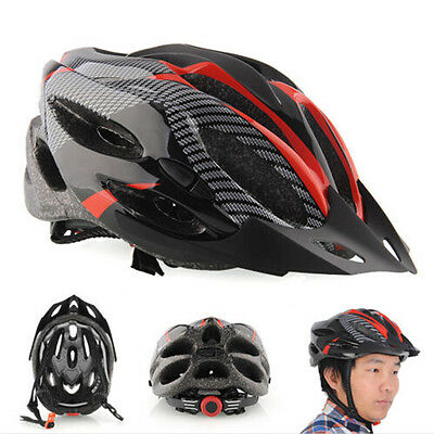 Cycling Bicycle Adult Mens Bike Helmet Red carbon color With Visor Mountain bos