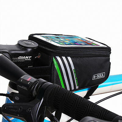Cycling Bicycle Front Tube Frame Bag Touch Phone Holder Pouch Bike Accessory MTB