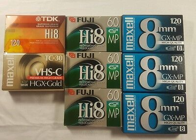 Lot of 8 - TDK,Maxell Fuji new blank camcorder video tape cassette.