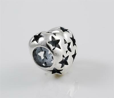 New Genuine Authentic Pandora Silver Starry Stars Love Hearts Charm 791393