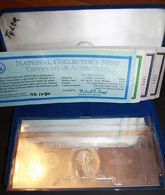 Set of 4 National Collectors Mint Silver & Gold Certificates & Buffalo Bill COA