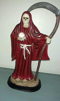 "Santa Muerte  Grim Reaper 13"" NEW Figure With Clear Glass Marble, Excellent!"