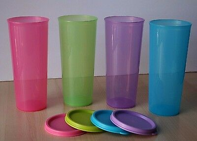Tupperware Classic Straight Sided Stacking Tumblers 16oz (4) NEW