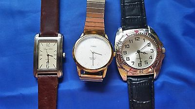 LOT OF 3 MEN'S USED WRISTWATCHES George Arthur - Timex