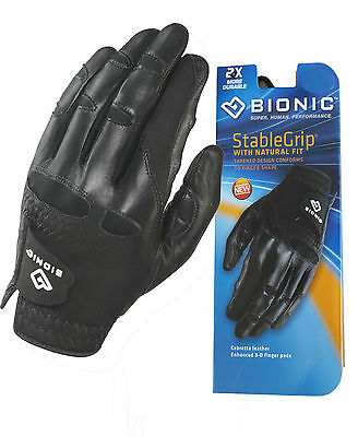 Bionic Golf Glove - Mens Left Hand Stable Grip - Black - Size/SMALL - Post Disc%