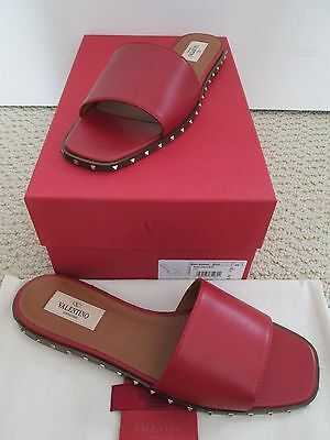 NIB Auth Valentino Rockstud Soul Stud Red Leather Slide Sandals Sz 39 9 $695