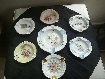 Set of seven beautiful vintage Shelley ashtrays with stands .REDUCED BARGAIN !