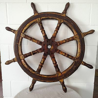 Antique ships wheel. Over 100 years old.
