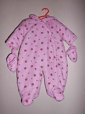 Baby Girls George Winter Snowsuit/pram Suit, Pink/floral, 0-3 Months