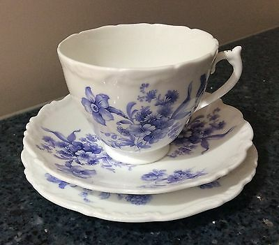 Coalport Divinity Blue Cup, Saucer & Side Plate Trio  Made in England