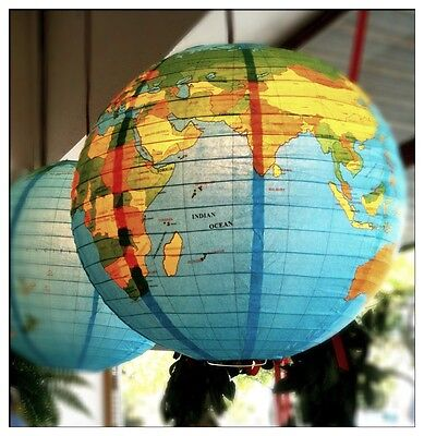 Globe of the World X 4-Vintage Style- Shop Display-Paper -Lighting-Lamp/Lantern