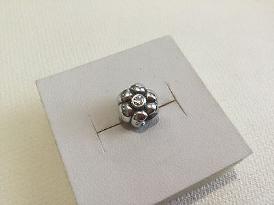 Genuine PANDORA Sterling Silver FLOWER CZ Bracelet Charm NEW & RETIRED