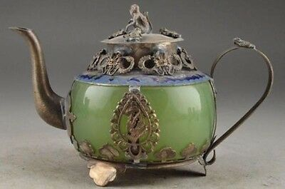 Jade Cloisonne Chinese Old Collectable Handwork Carving Dragon TeaPot MONKEY LID