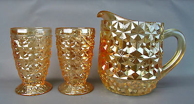 CARNIVAL GLASS - JEANNETTE STUDS Pitcher & Tumblers