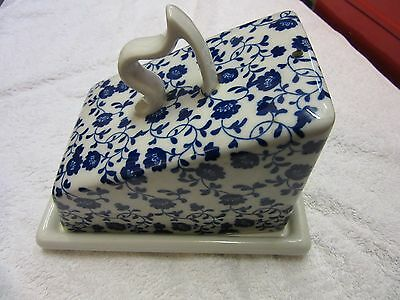 Large decorative Blue and White Ironstone Cheese dish and cover flowers