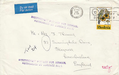 B 222 1976 Rhodesia cover with Rhodesia underpaid marks. Unsealed card rate. 8c