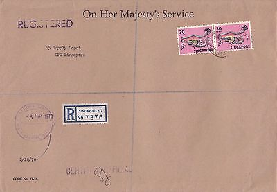 B 471 Singapore OHMS Forces  Registered mail 1970 cover UK; 60c rate dragons