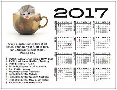 New Christian Low Cost 2017 Cute Calendar Fridge Magnet Great Gift, Free Postage