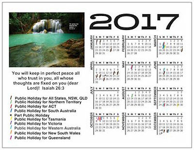 New Christian Low Cost 2017 Calendar Fridge Magnet - Great Gift, Free Postage
